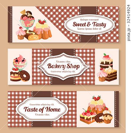 bakery shop desserts vector banners setのイラスト素材 32414924 pixta