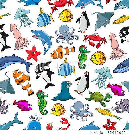 Sea fishes animals cartoon vector seamless patternのイラスト素材 [32415002] - PIXTA