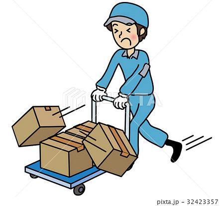ダンボールを運搬する男性作業員...