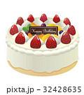 ホールケーキ ケーキ バースデーケーキのイラスト 32428635