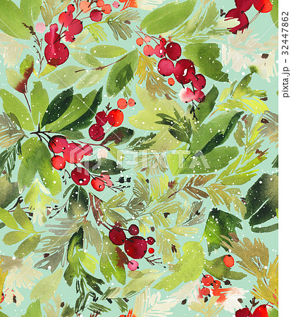 Seamless watercolor Christmas pattern with berriesのイラスト素材 [32447862] - PIXTA