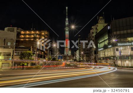 【東京夜景】 スカイツリー 浅草 駒形橋東詰  32450791