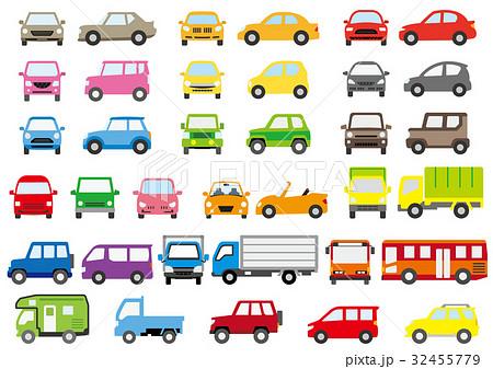 シンプルな車の正面と横(カラー) 32455779