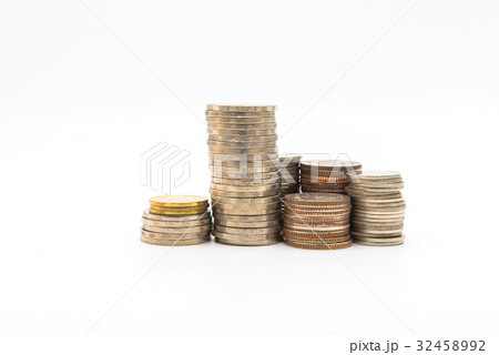 Stack of coins isolated on white background の写真素材 [32458992] - PIXTA