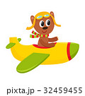 Cute teddy bear pilot character flying on airplane 32459455