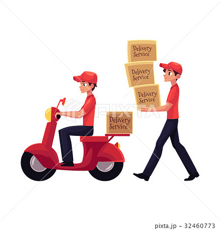 Courier carrying pile of boxes, delivering 32460773