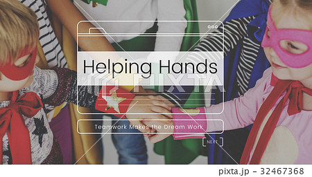 Helping Hands Volunteer Support Message Box Window Graphicの写真素材 [32467368] - PIXTA