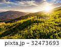 grassy hillside  in Carpathian mountains at sunset 32473693