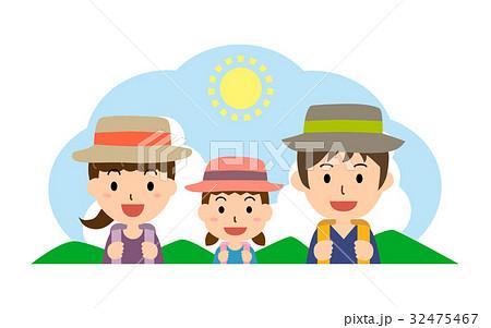 夏の行楽 親子(父、母、娘) 32475467