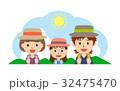 夏の行楽 親子(父、母、娘) 32475470