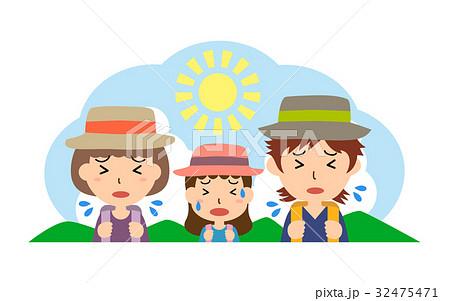 夏の行楽 熱中症の親子(父、母、娘) 32475471