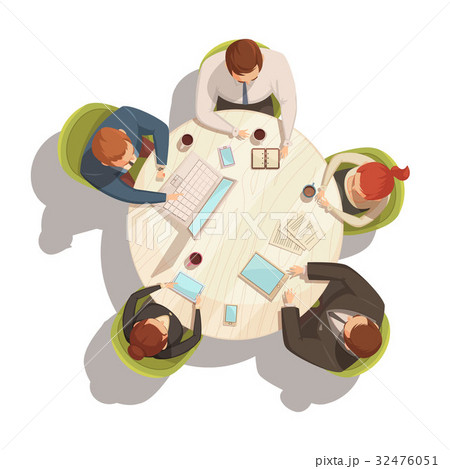 business meeting cartoon conceptのイラスト素材 32476051 pixta