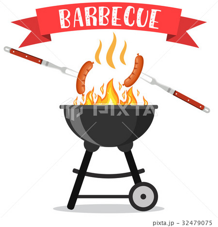 bbq or barbecue party invitationのイラスト素材 32479075 pixta
