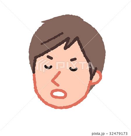 不機嫌な男性の顔 やや茶髪 32479173