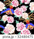 日本式な牡丹と鳳凰パターン 32480475