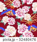 日本式な牡丹と鳳凰パターン 32480476