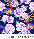 日本式な牡丹と鳳凰パターン 32480477