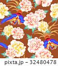 日本式な牡丹と鳳凰パターン 32480478