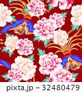 日本式な牡丹と鳳凰パターン 32480479