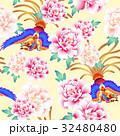 日本式な牡丹と鳳凰パターン 32480480