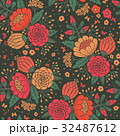 Seamless vintage pattern with decorative flowers. 32487612