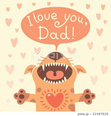 Card Happy Fathers Day with a funny puppy. 32487620