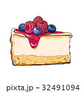 Hand drawn piece of cheesecake decorated with 32491094
