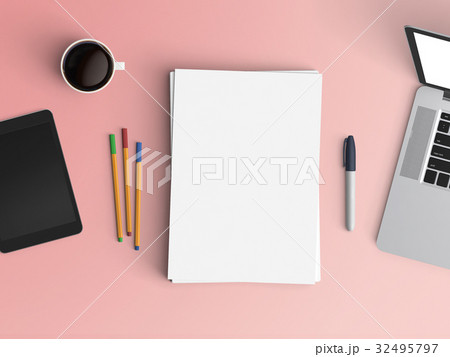 Modern office desk workplace with notebook, tablet or smartphone, pen and coffee cup copy space on color background. Top view. Flat lay style.の写真素材 [32495797] - PIXTA