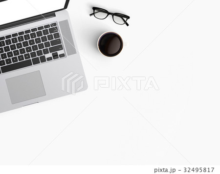 Modern workspace with laptop, coffee cup and notebook copy space on color background. Top view. Flat lay style.の写真素材 [32495817] - PIXTA
