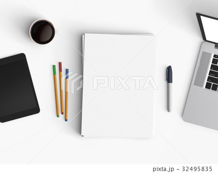 Modern office desk workplace with notebook, blank paper, coffee cup, pen and tablet copy space on white background. Top view. Flat lay style.の写真素材 [32495835] - PIXTA