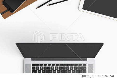 Modern workspace with laptop, coffee cup, book and smartphone copy space on color background. Top view. Flat lay style.の写真素材 [32496158] - PIXTA