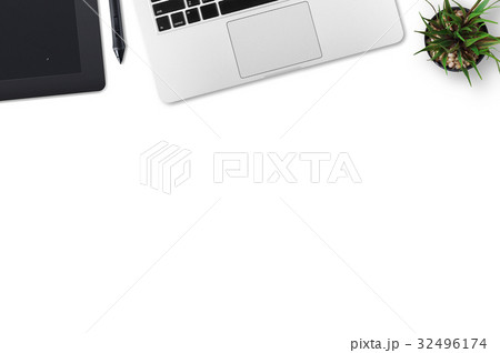Modern workplace with notebook and graphic tablet copy space on gray background. Top view. Flat lay style.の写真素材 [32496174] - PIXTA