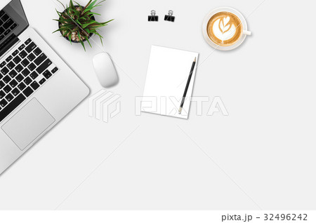 Modern workplace with notebook, coffee cup, blank paper, pencil and little tree copy space on gray background. Top view. Flat lay style.の写真素材 [32496242] - PIXTA