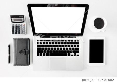 Top view business office desk with copy space hero header imageの写真素材 [32501802] - PIXTA