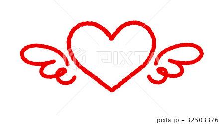 赤い線ハート羽 32503376