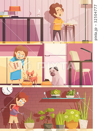 kids cleaning cartoon banners setのイラスト素材 32504777 pixta