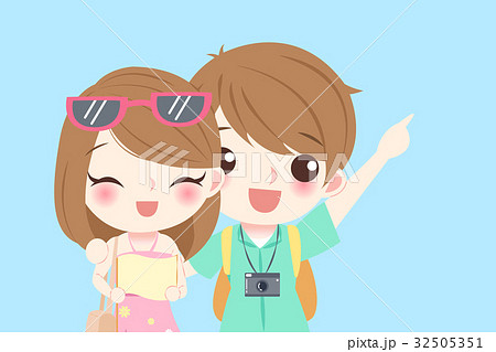 cartoon couple go to travelのイラスト素材 32505351 pixta