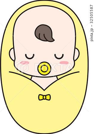 ベビースリングに包まれながら寝るおしゃぶりをした赤ちゃん 32505587