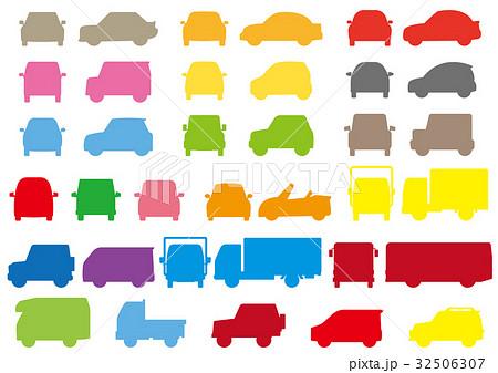 シンプルな車の正面と横(フォルムシルエット) 32506307