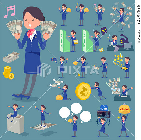 flat type Cabin attendant blue woman_money 32507636