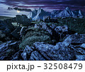 rocky peaks and rocks hillside in Tatras at night 32508479