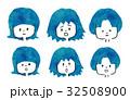 ボサボサ ハネ 広がり 髪 悩み イラスト 32508900