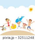海水浴 遊ぶ 砂浜のイラスト 32511248