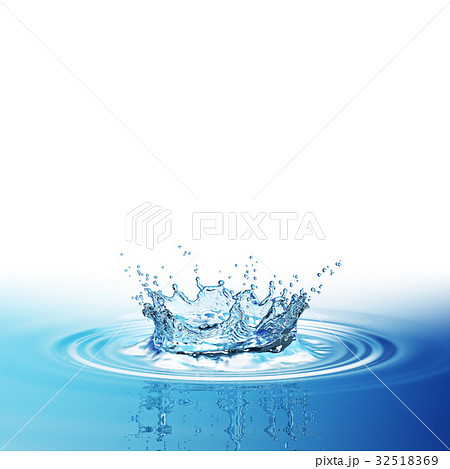 Water splash in dark blue color with a drop of 32518369