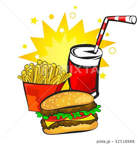 Burger, potatoes and drink vector 32518988