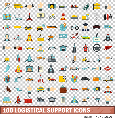 100 logistical support icons set, flat style 32523639