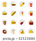 Fast food icons set in flat style 32523880