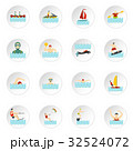 Water sport set flat icons 32524072