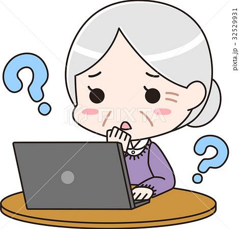 ノートパソコンの使い方に困るシニア女性 32529931