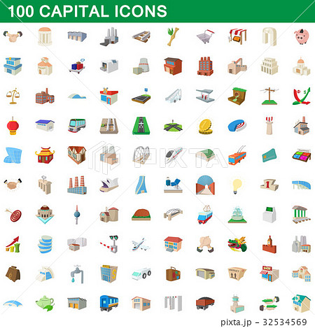 100 capital icons set, cartoon style 32534569